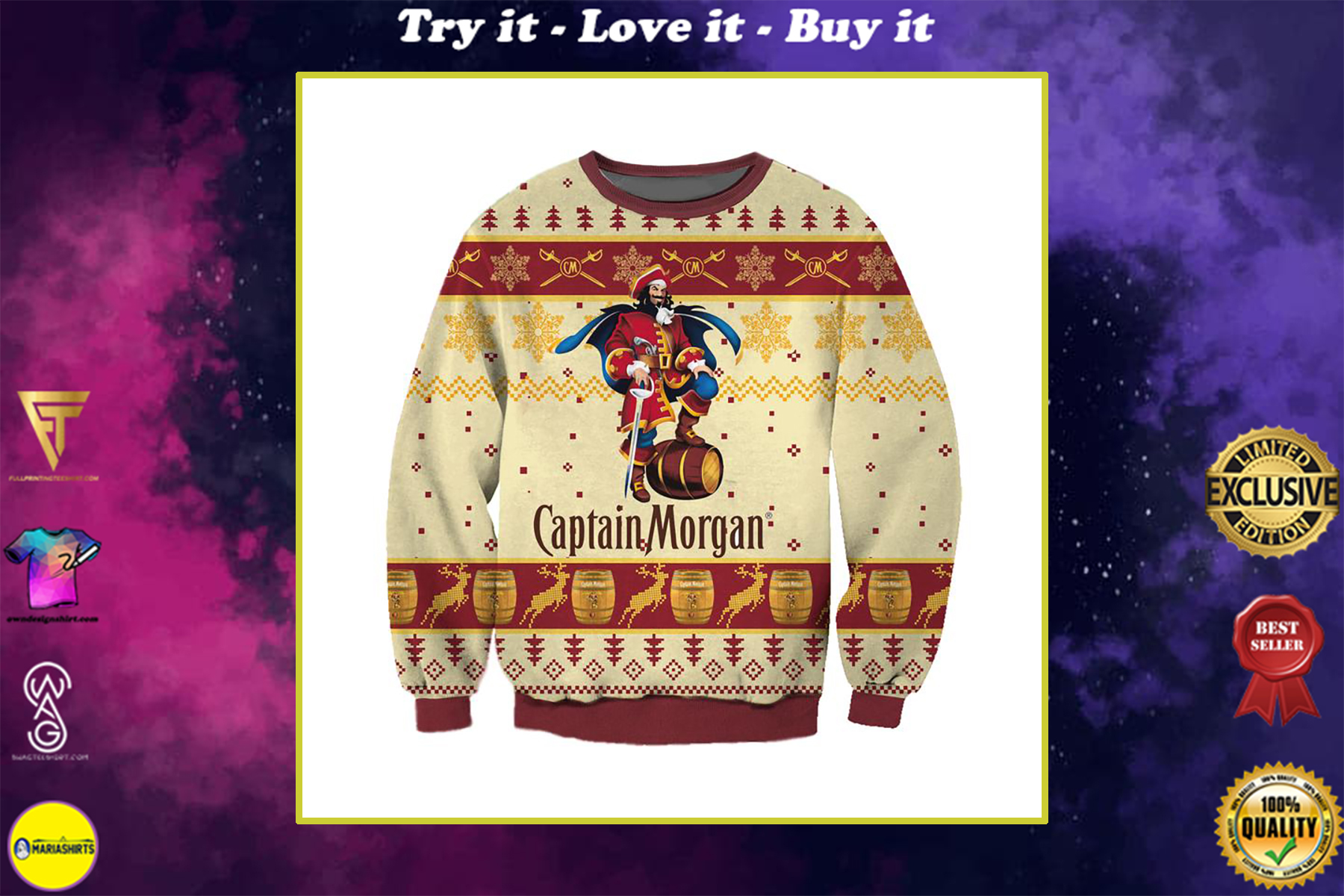 captain morgan full printing ugly christmas sweater