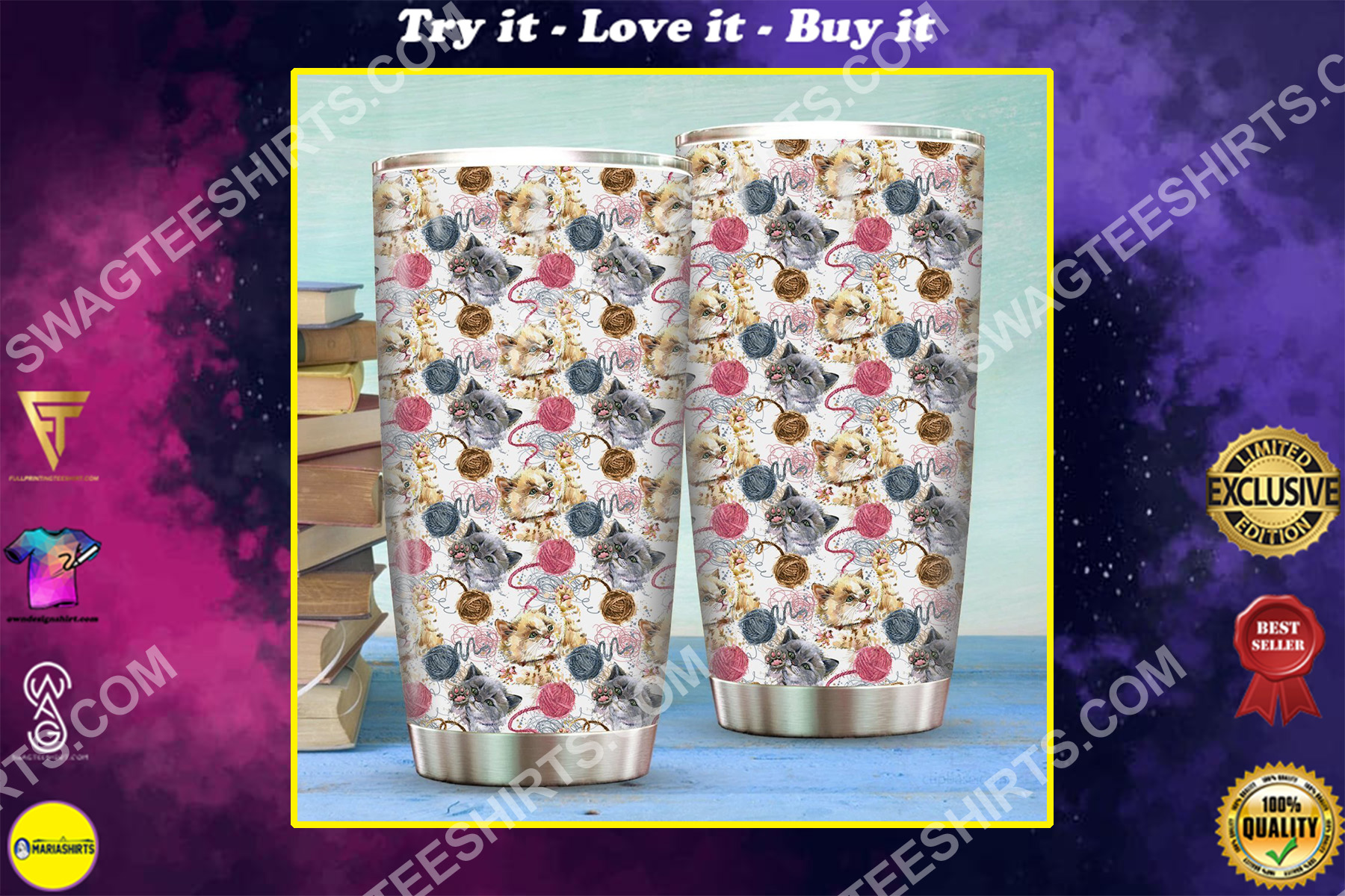 cat and yarn all over printed stainless steel tumbler