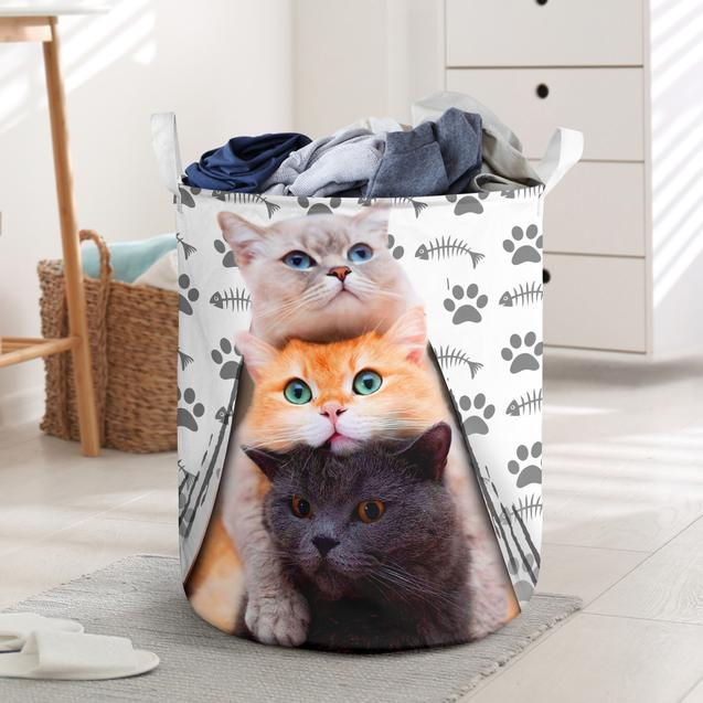 cat cute face all over printed laundry basket 3