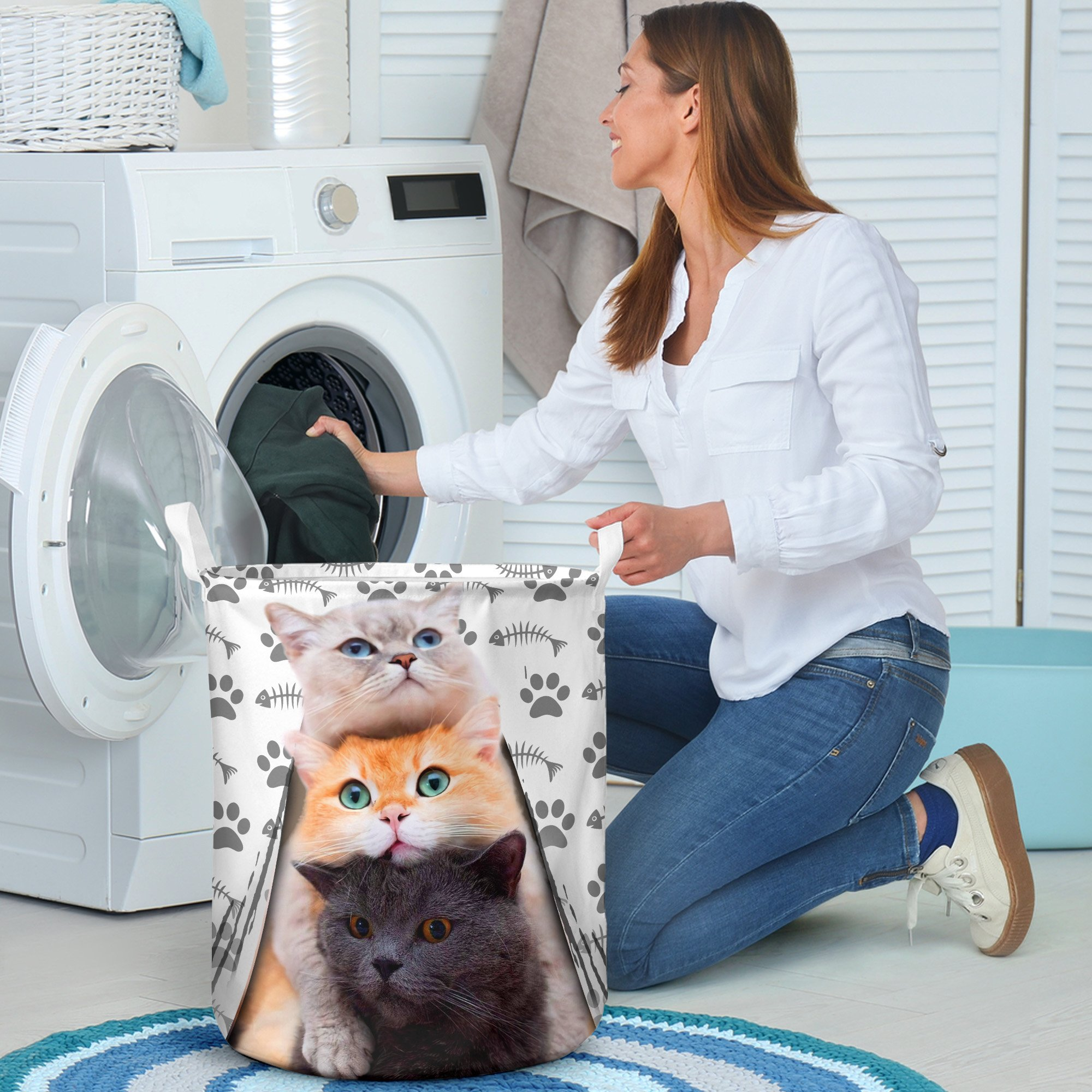 cat cute face all over printed laundry basket 5