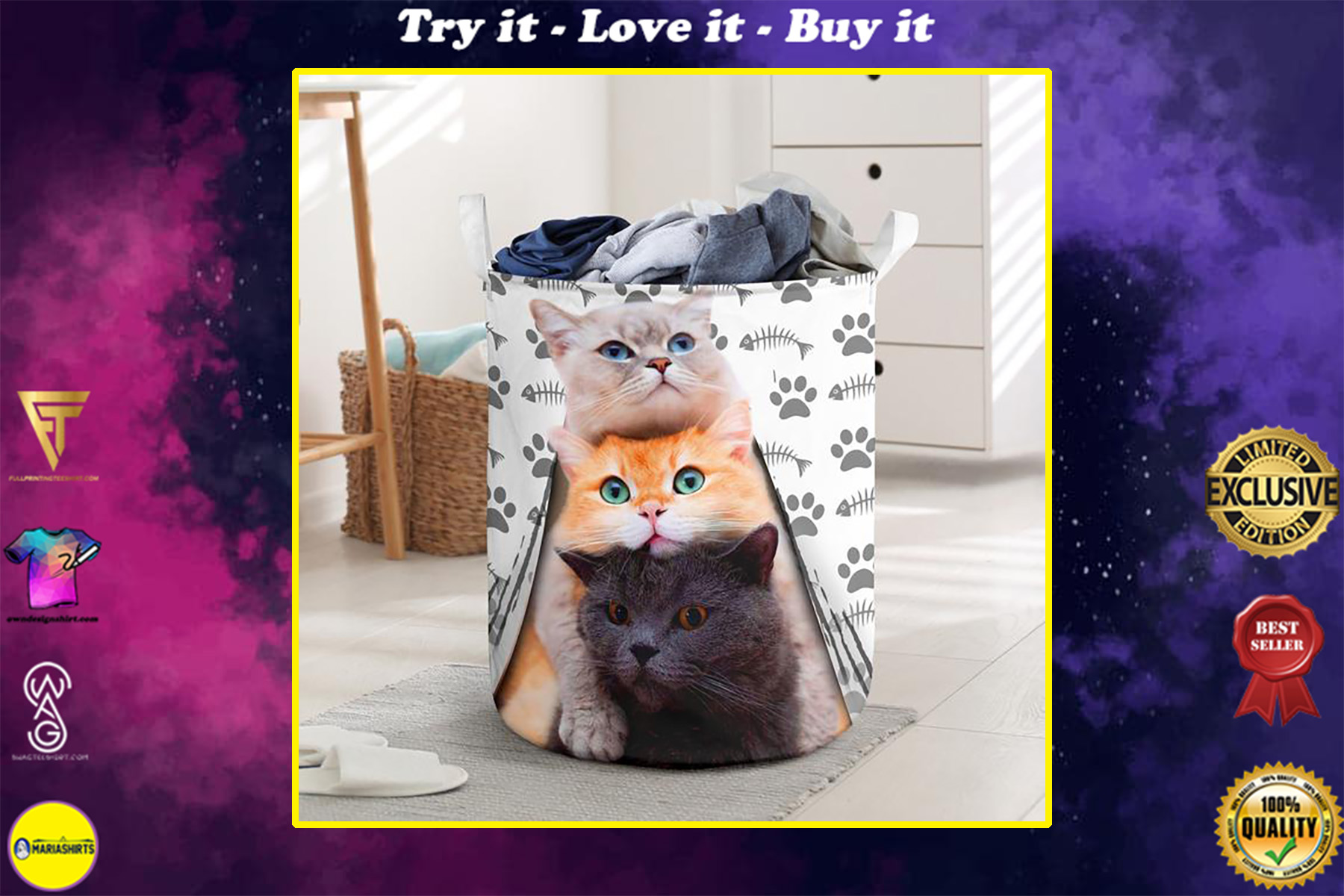 cat cute face all over printed laundry basket