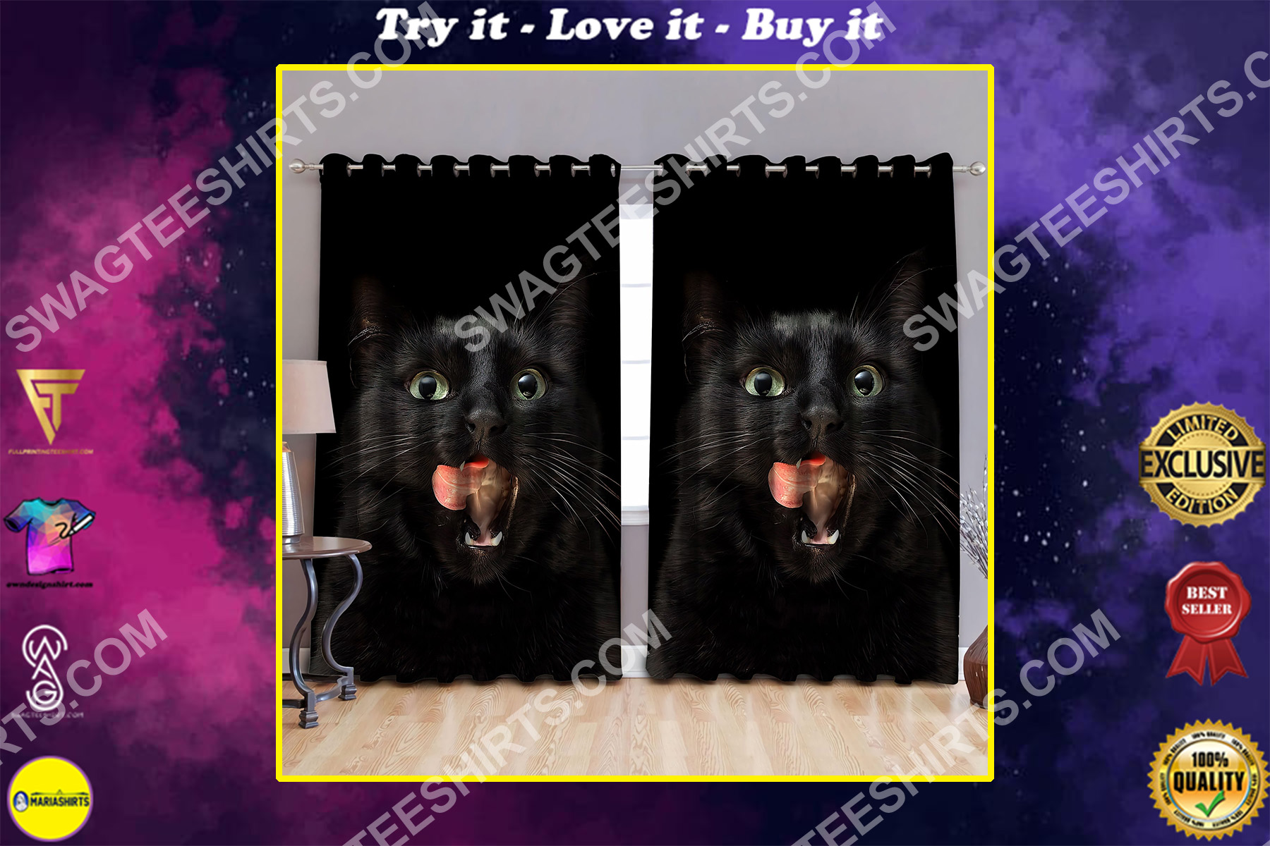 cat lover black cat all over printed window curtains