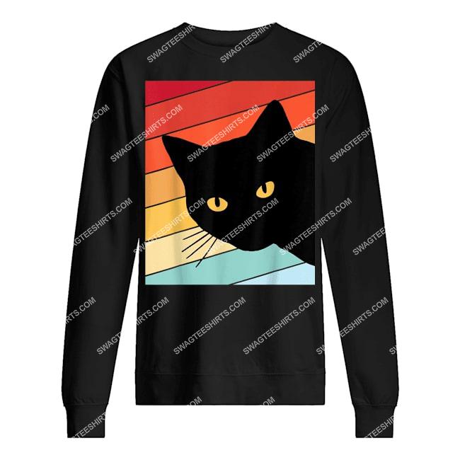 cat lover retro cat sweatshirt 1