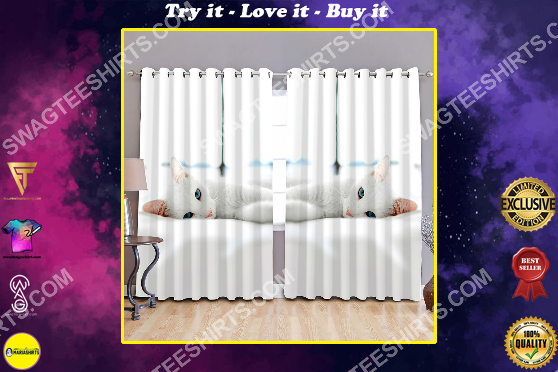 cat lover white cat all over printed window curtains