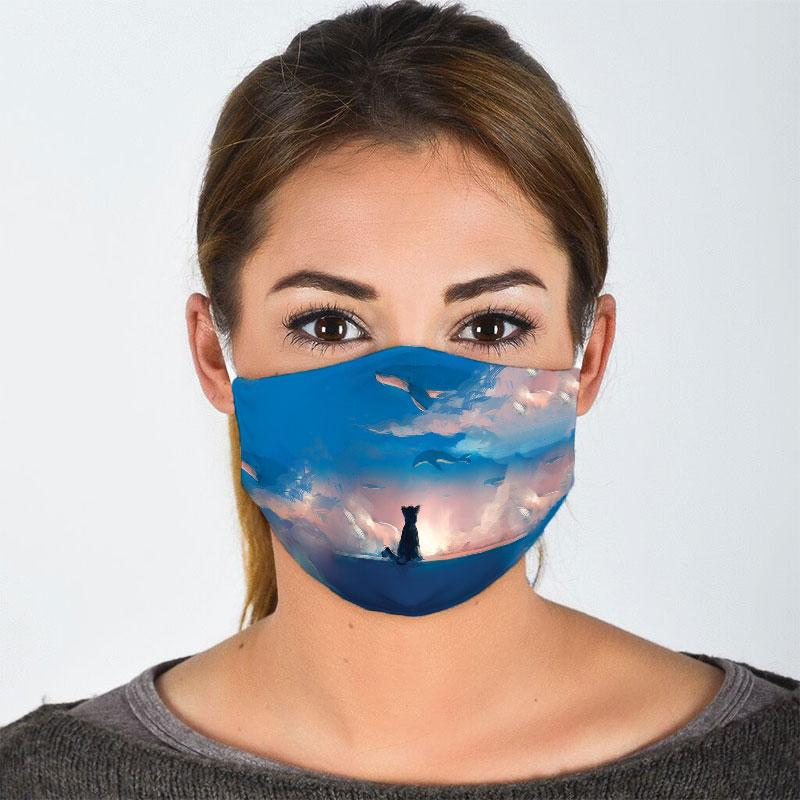 cat watching dolphin on sky all over print face mask 2