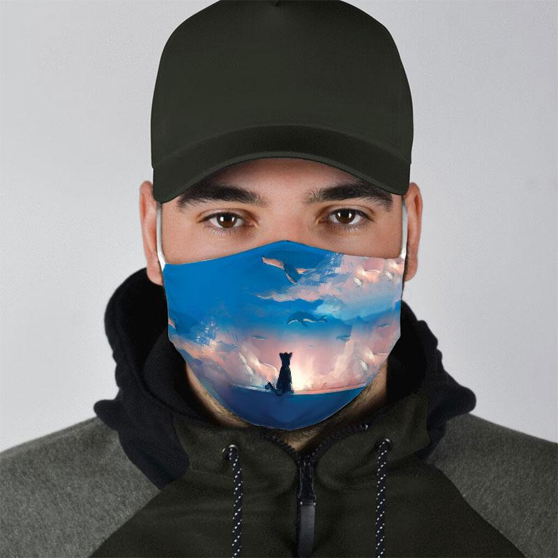 cat watching dolphin on sky all over print face mask 5