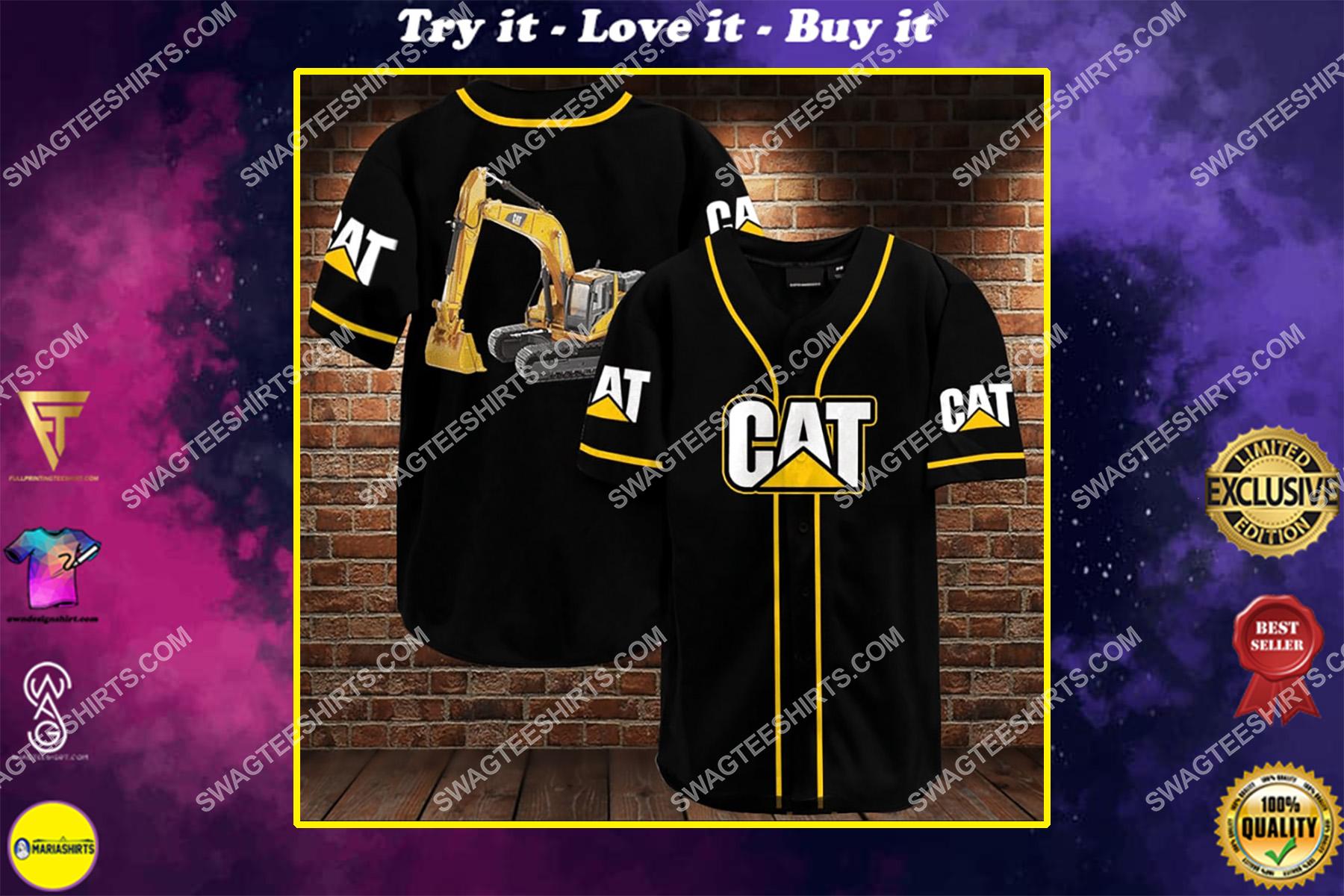 caterpillar all over printed baseball shirt