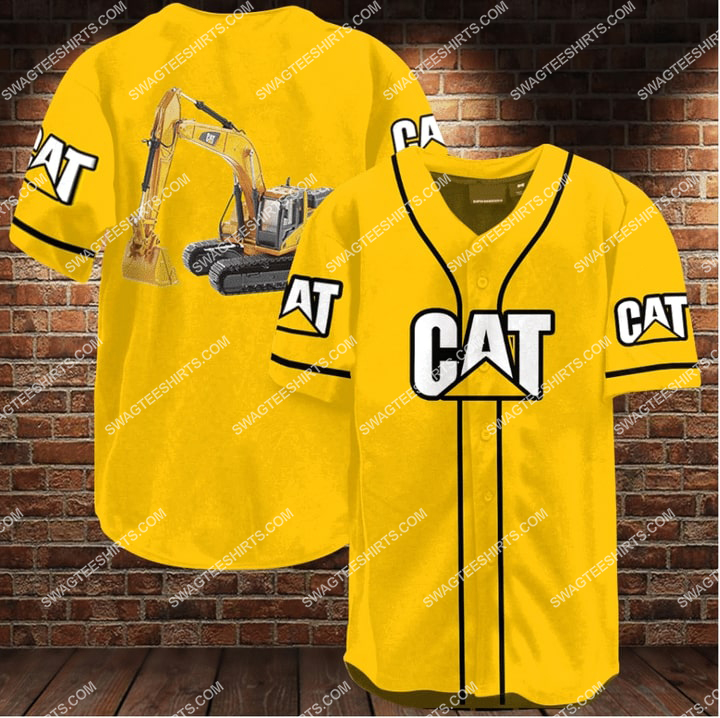 caterpillar company all over printed baseball shirt 1