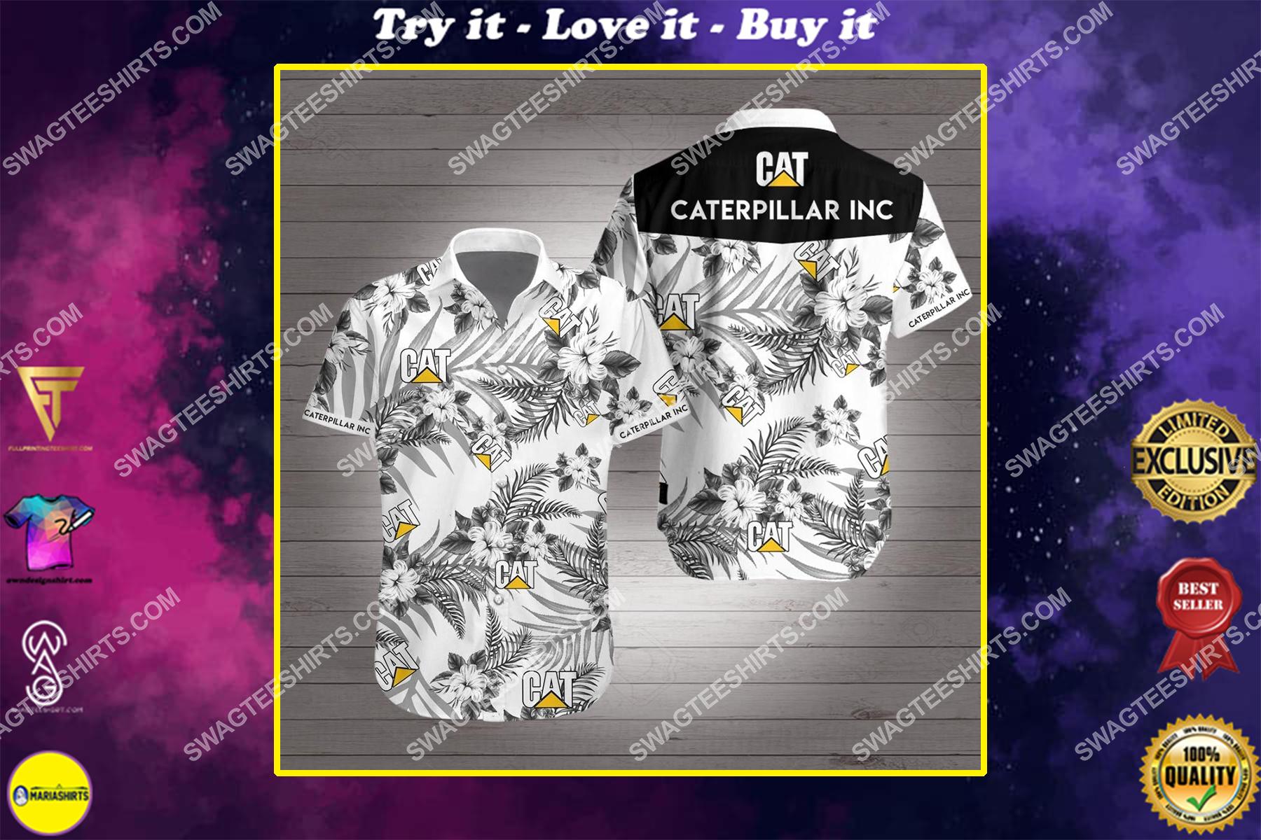 caterpillar inc all over print hawaiian shirt