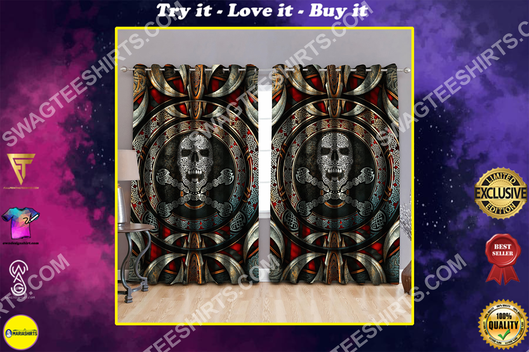 celtic skull viking all over printed window curtains