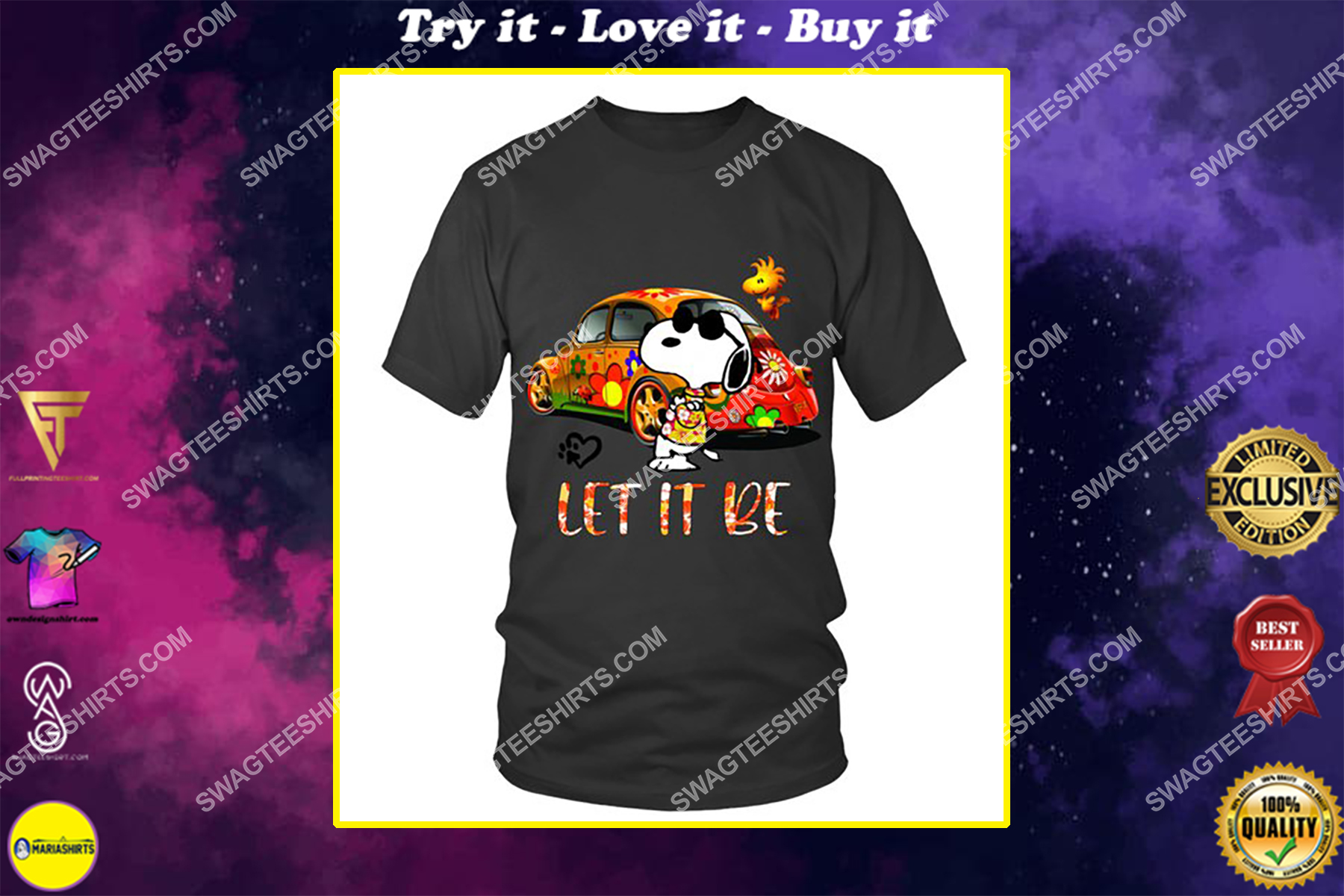 charlie brown snoopy let it be shirt