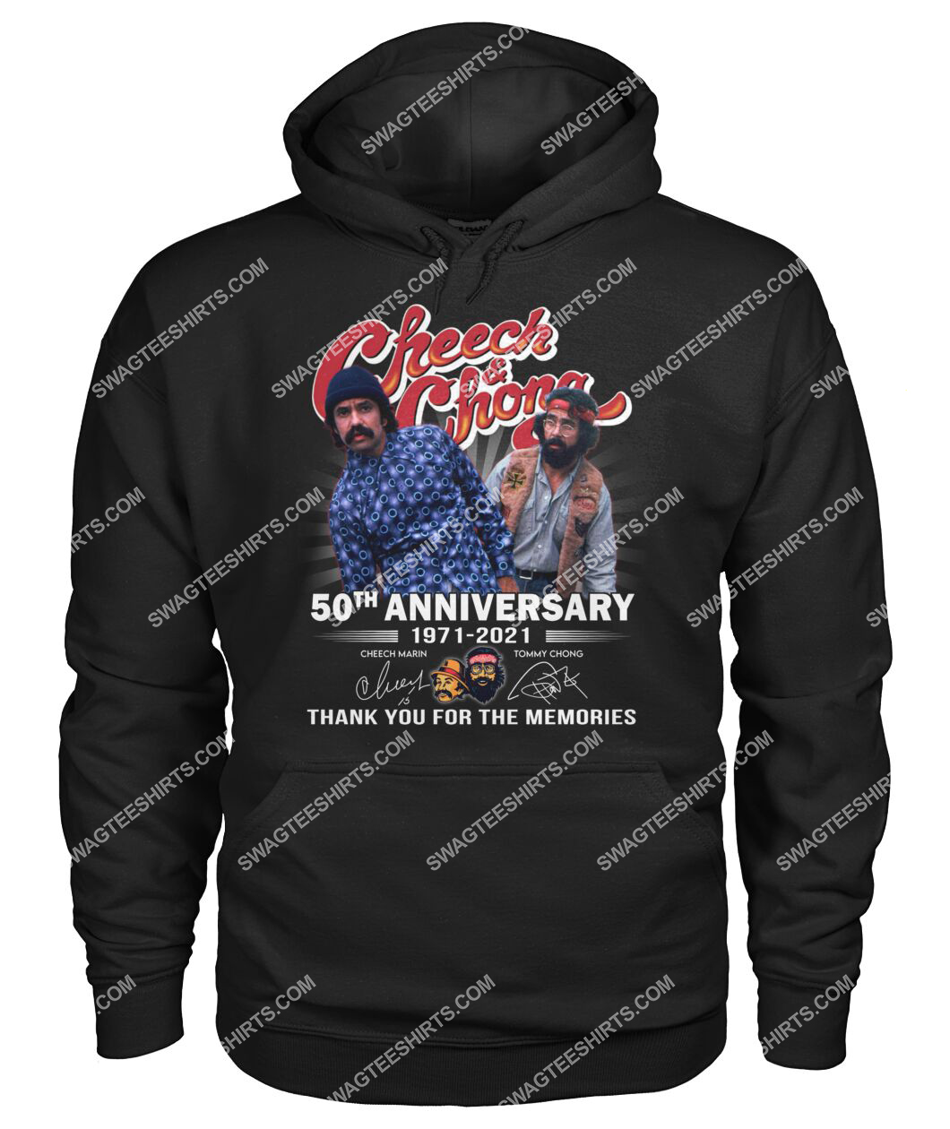 cheech and chong 50th anniversary signatures thank you for memories hoodie 1