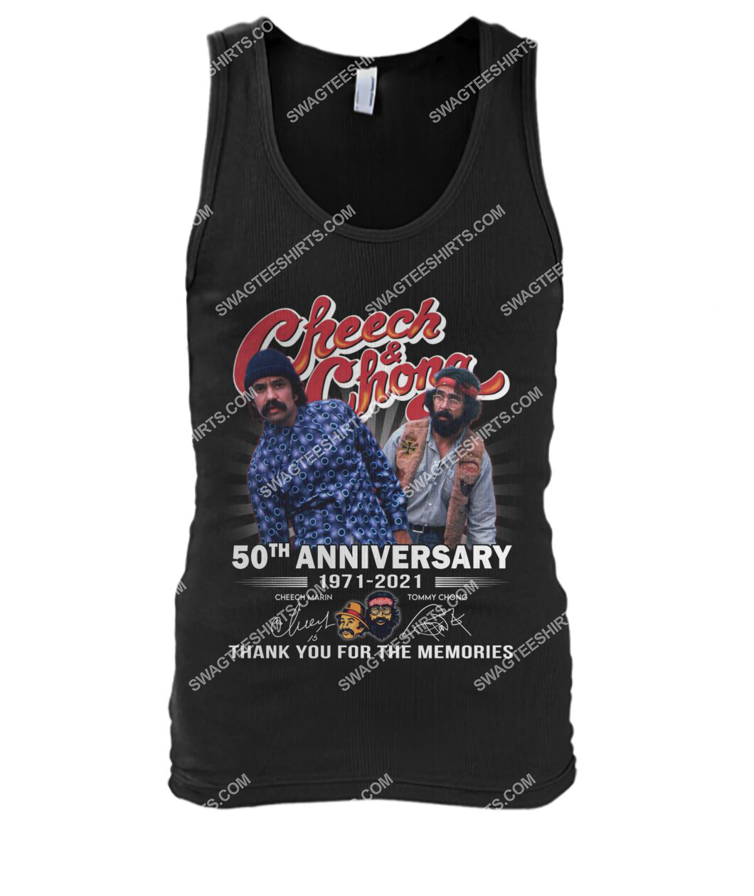 cheech and chong 50th anniversary signatures thank you for memories tank top 1