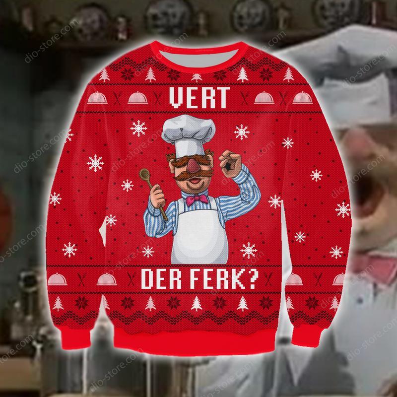 chef vert der ferk all over printed ugly christmas sweater 2