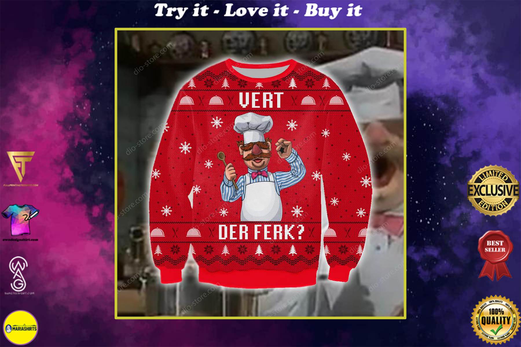 chef vert der ferk all over printed ugly christmas sweater