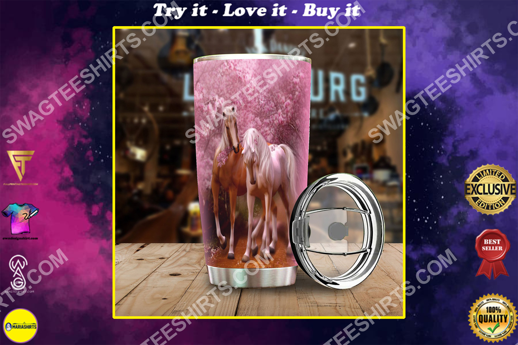 cherry blossoms horse all over printed stainless steel tumbler