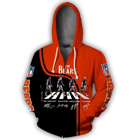 chicago bears abbey road full over printed zip hoodie