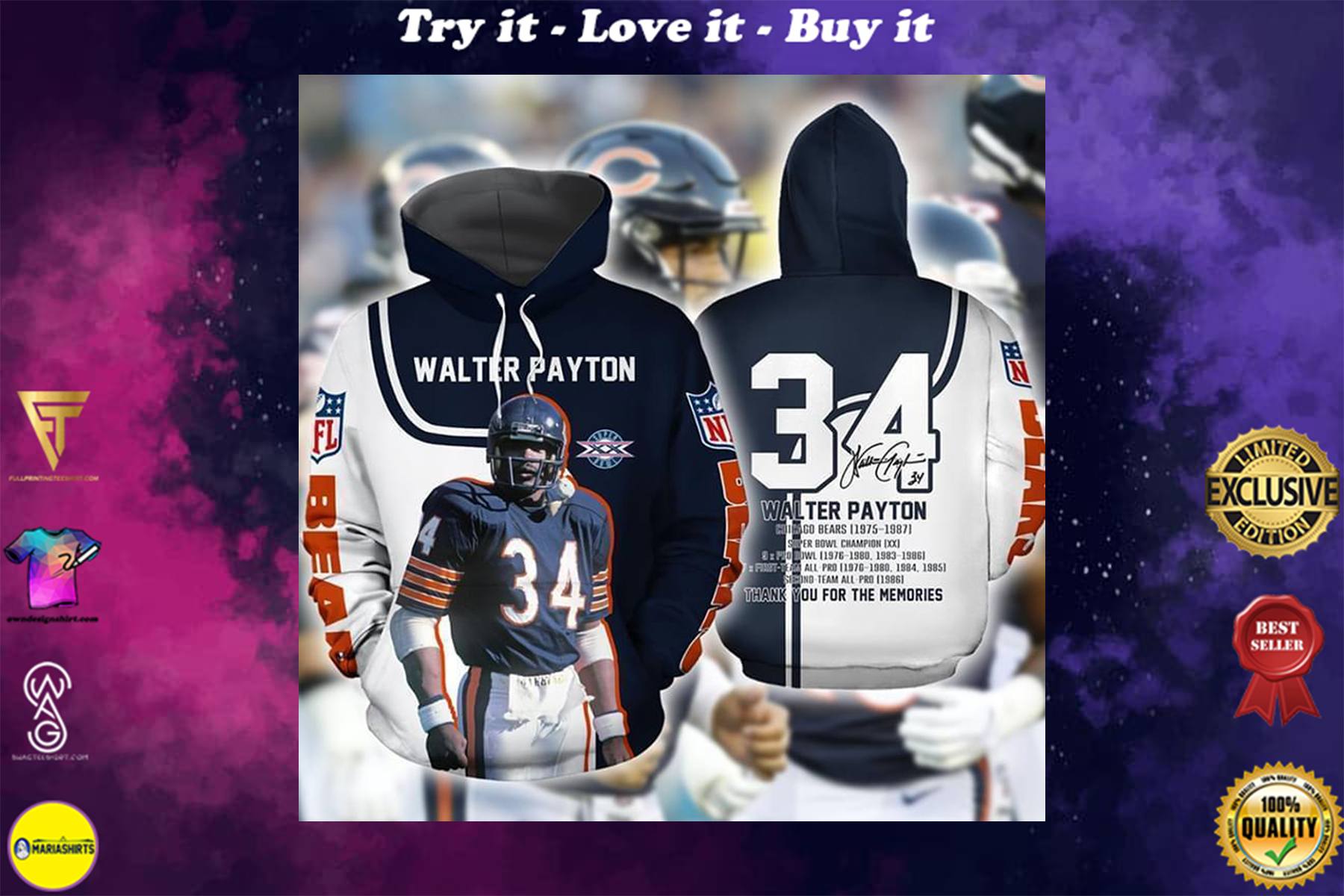 chicago bears walter payton signature thank you for memories full over printed shirt