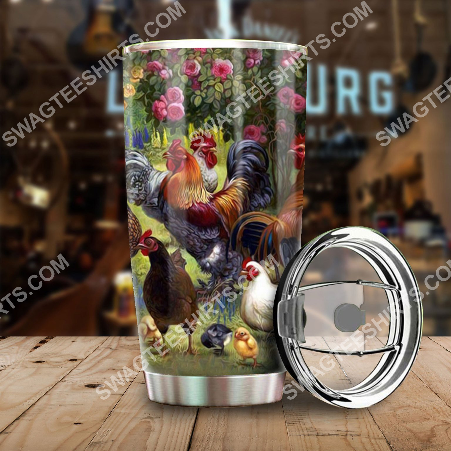 chicken farm all over printed stainless steel tumbler 2(1)