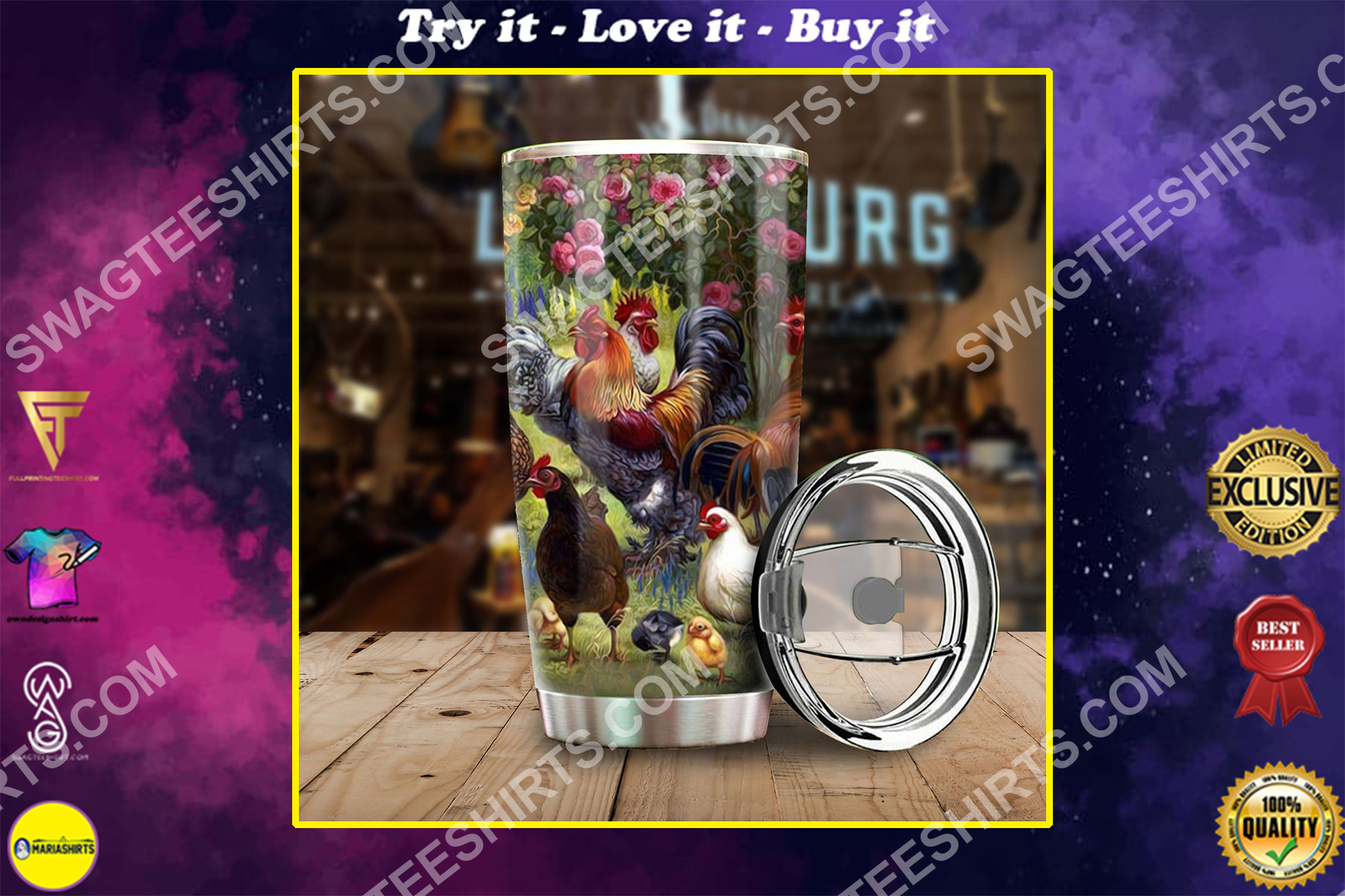 chicken farm all over printed stainless steel tumbler