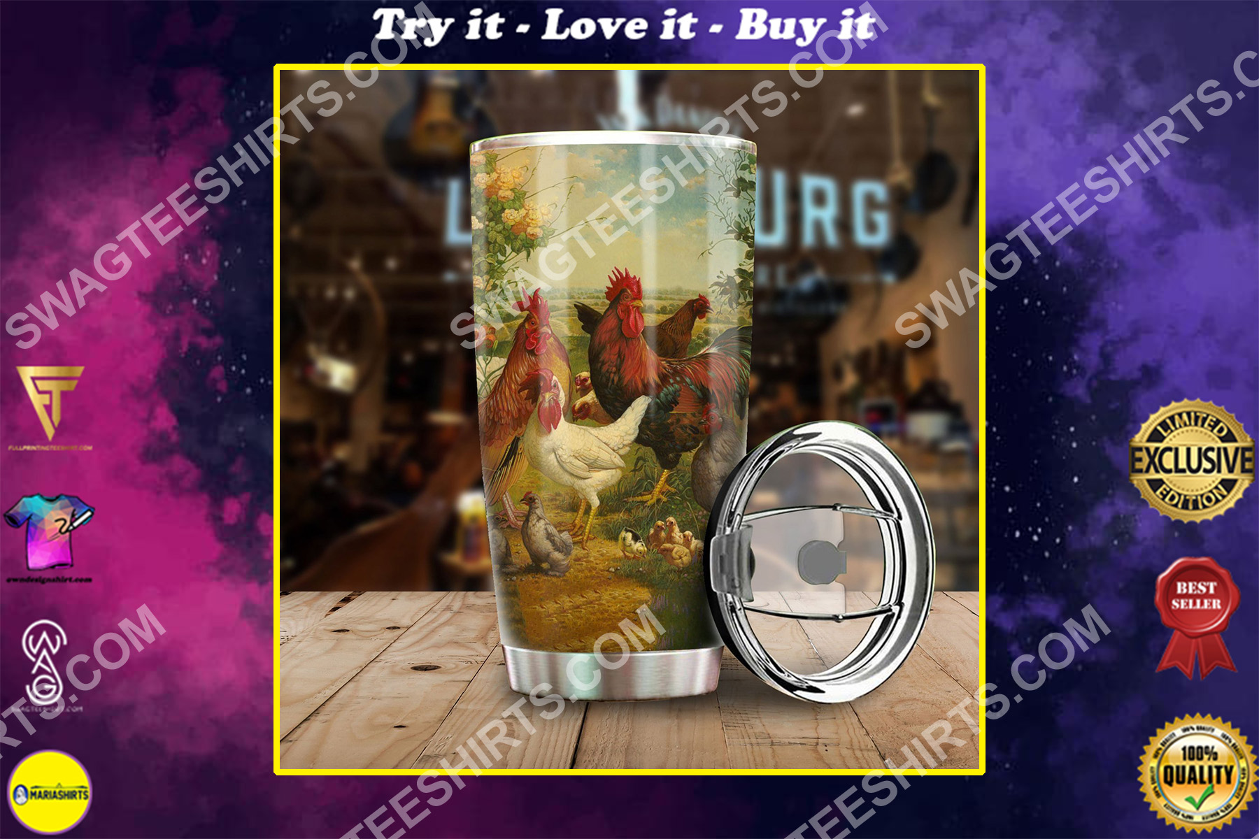 chicken farm life all over printed stainless steel tumbler