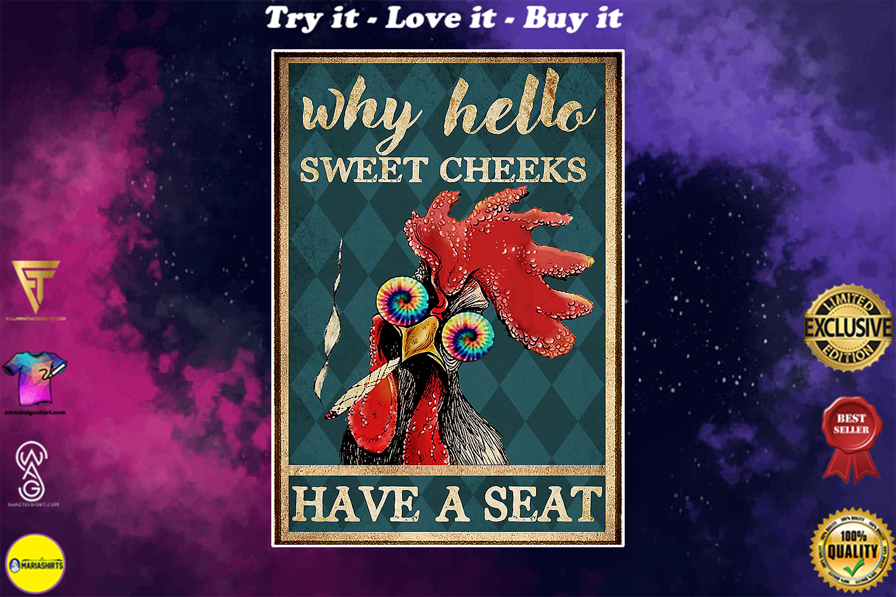 chicken hei hei why hello sweet cheeks have a seat vintage poster