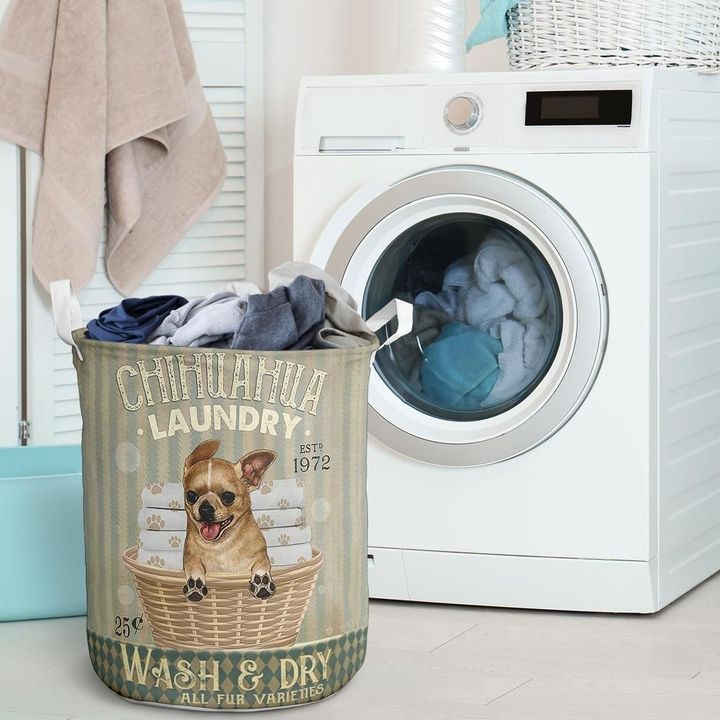 chihuahua wash and dry all over print laundry basket 2
