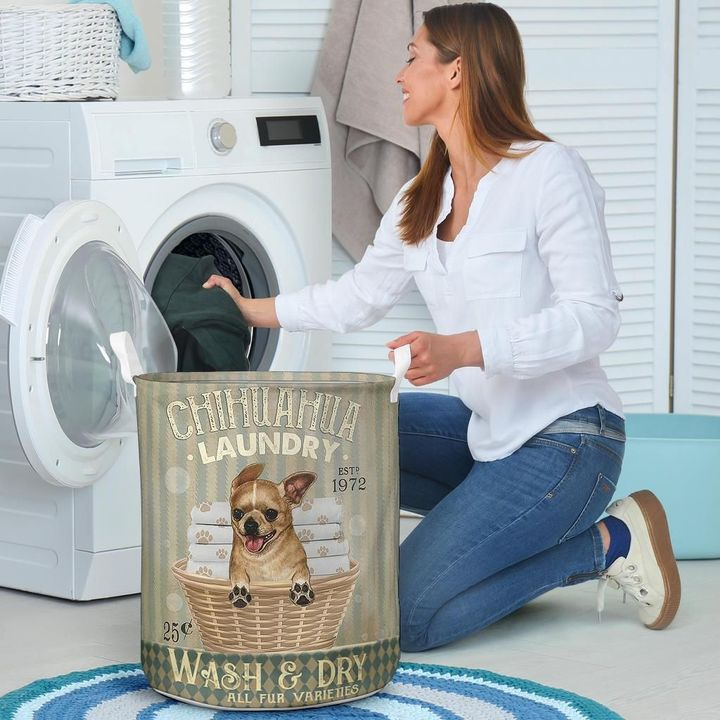 chihuahua wash and dry all over print laundry basket 4
