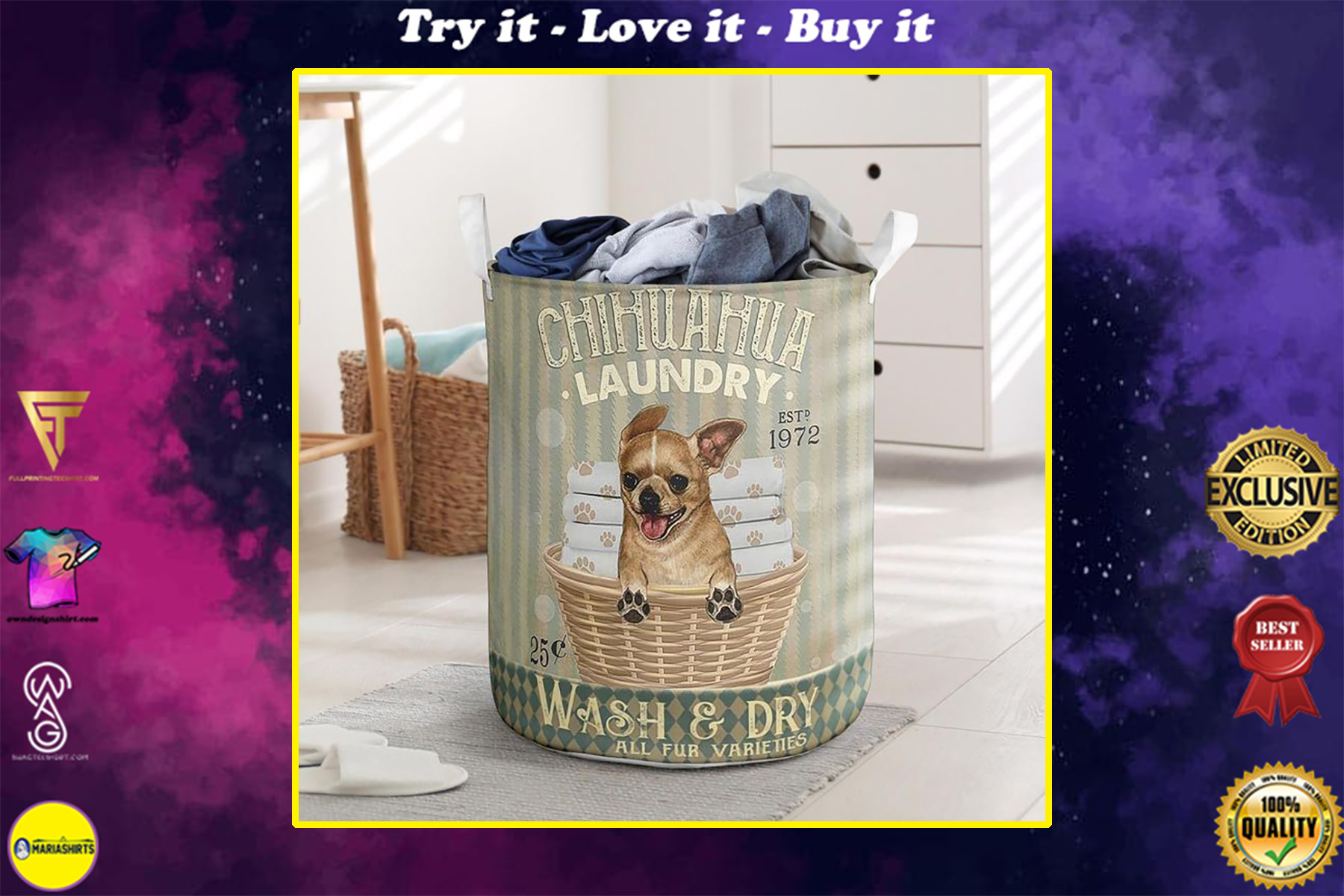 chihuahua wash and dry all over print laundry basket