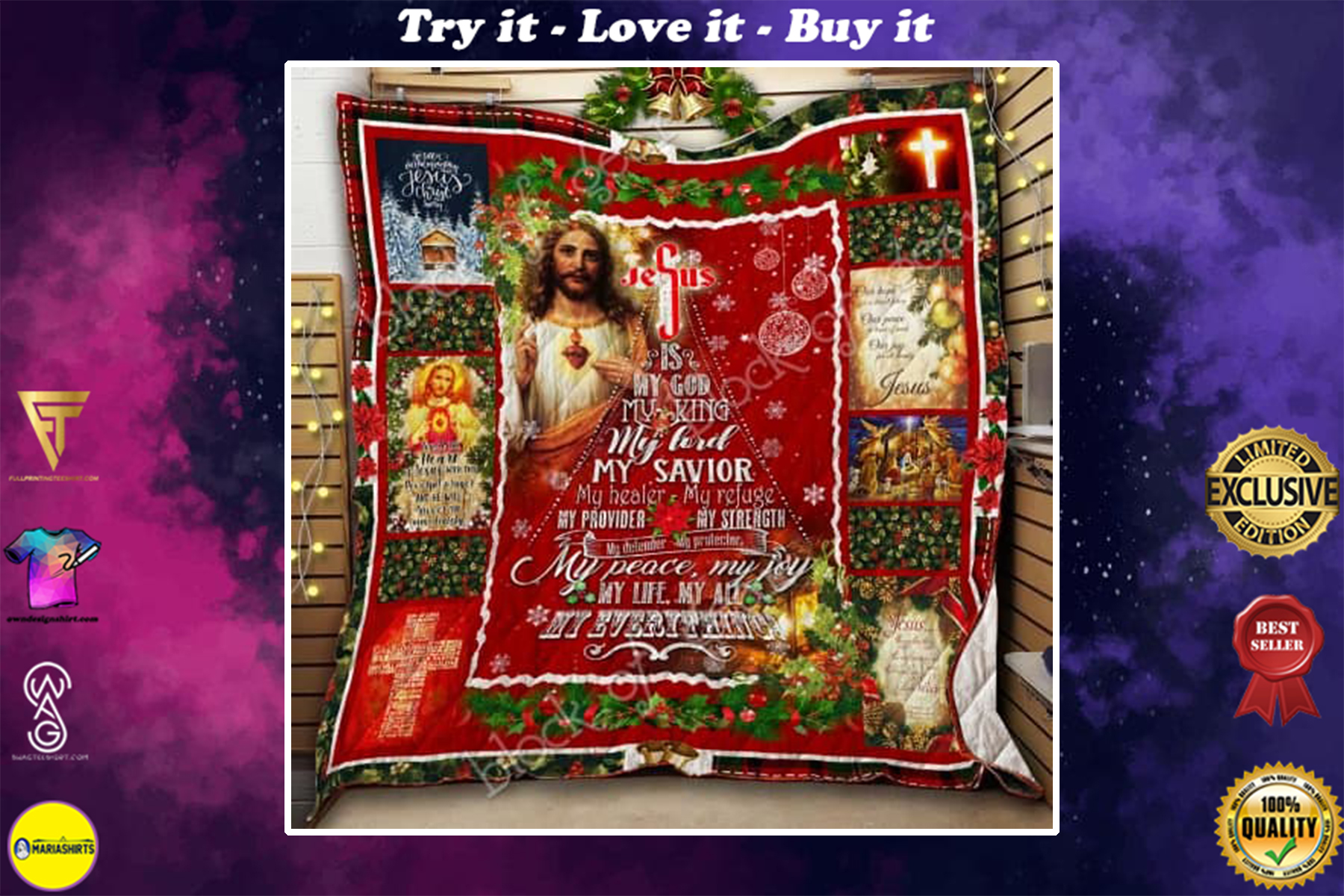 christmas Jesus is my god my king my peace my joy my everything quilt