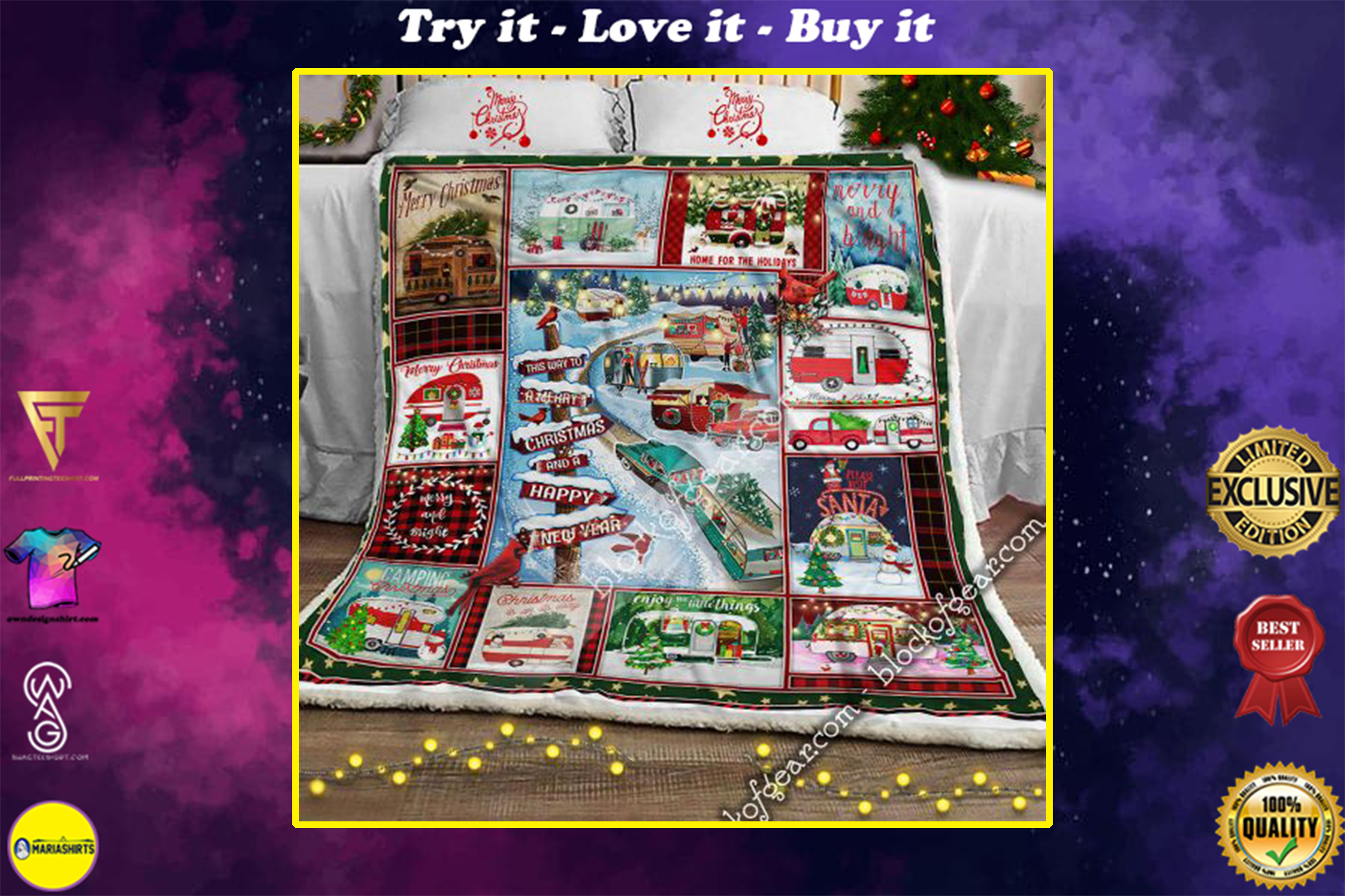 christmas camper this way to a merry christmas and happy new year blanket