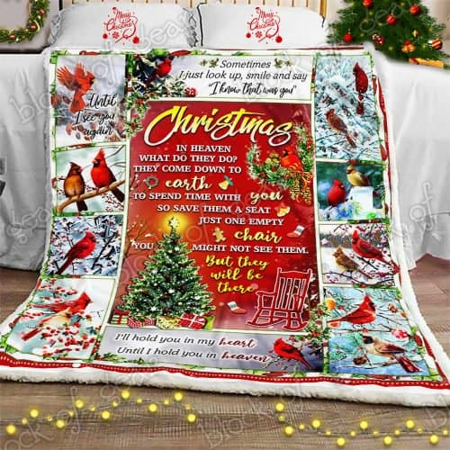 christmas cardinal bird christmas in heaven blanket 2
