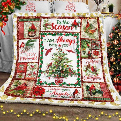 christmas cardinal bird i am always with you and merry christmas blanket 2