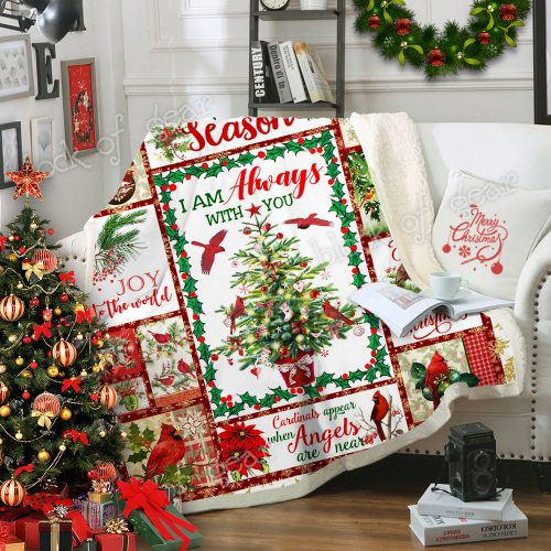 christmas cardinal bird i am always with you and merry christmas blanket 3