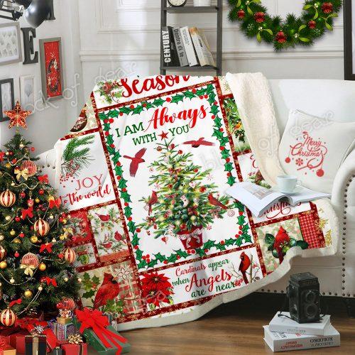 christmas cardinal bird i am always with you and merry christmas blanket 4