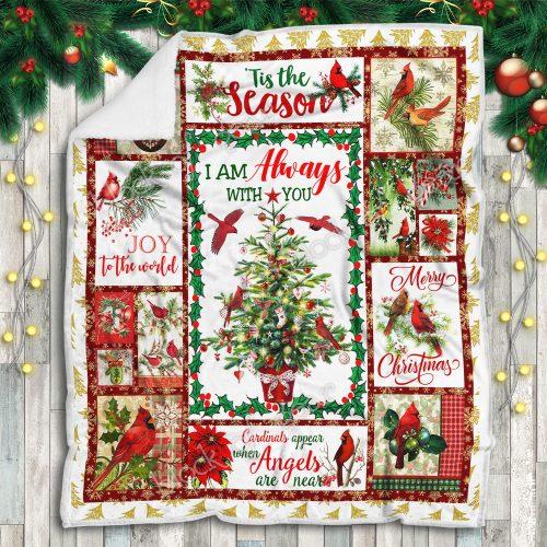 christmas cardinal bird i am always with you and merry christmas blanket 5