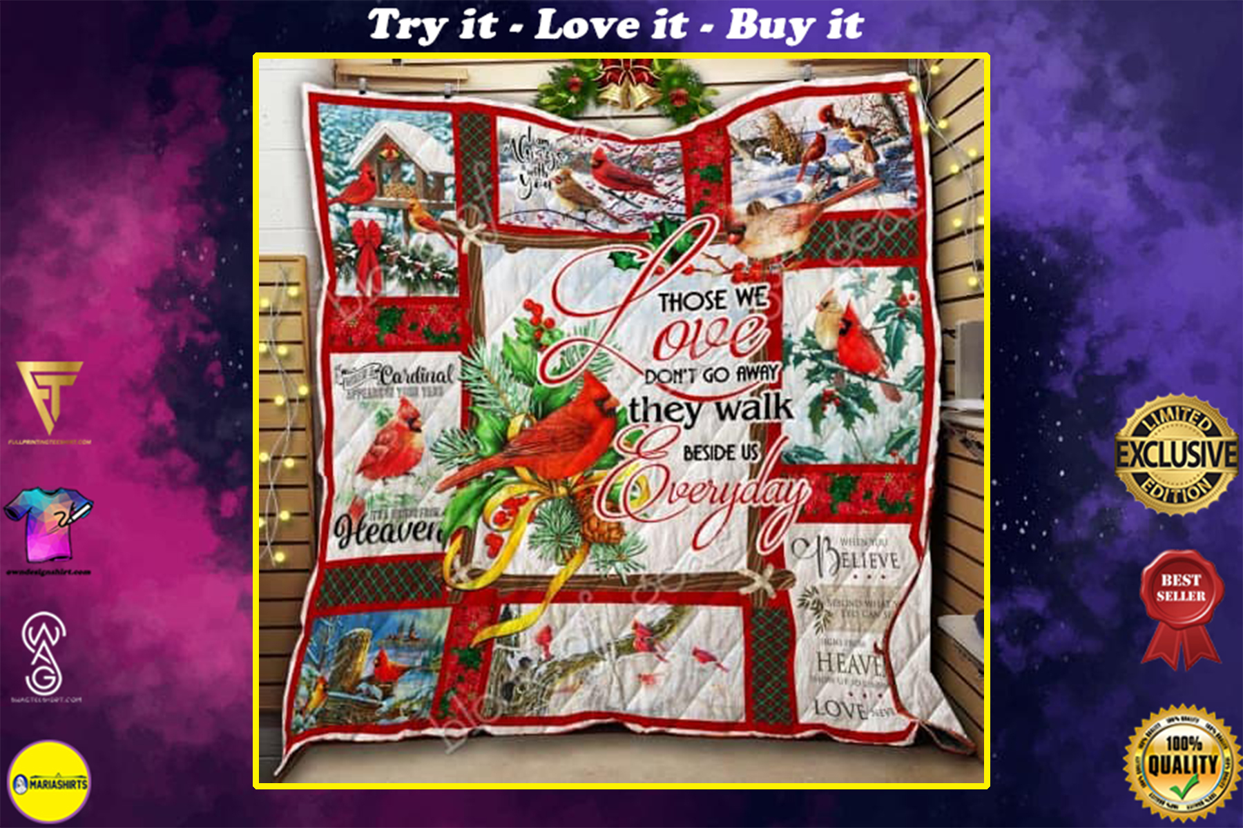 christmas cardinal bird those we love dont go away they walk beside us everyday quilt