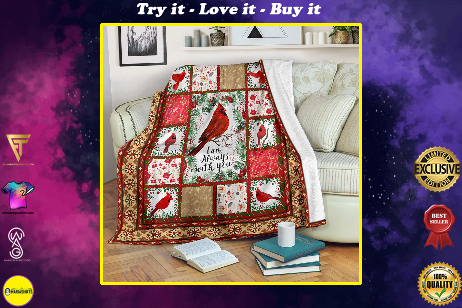 christmas cardinal i am always with you full printing blanket