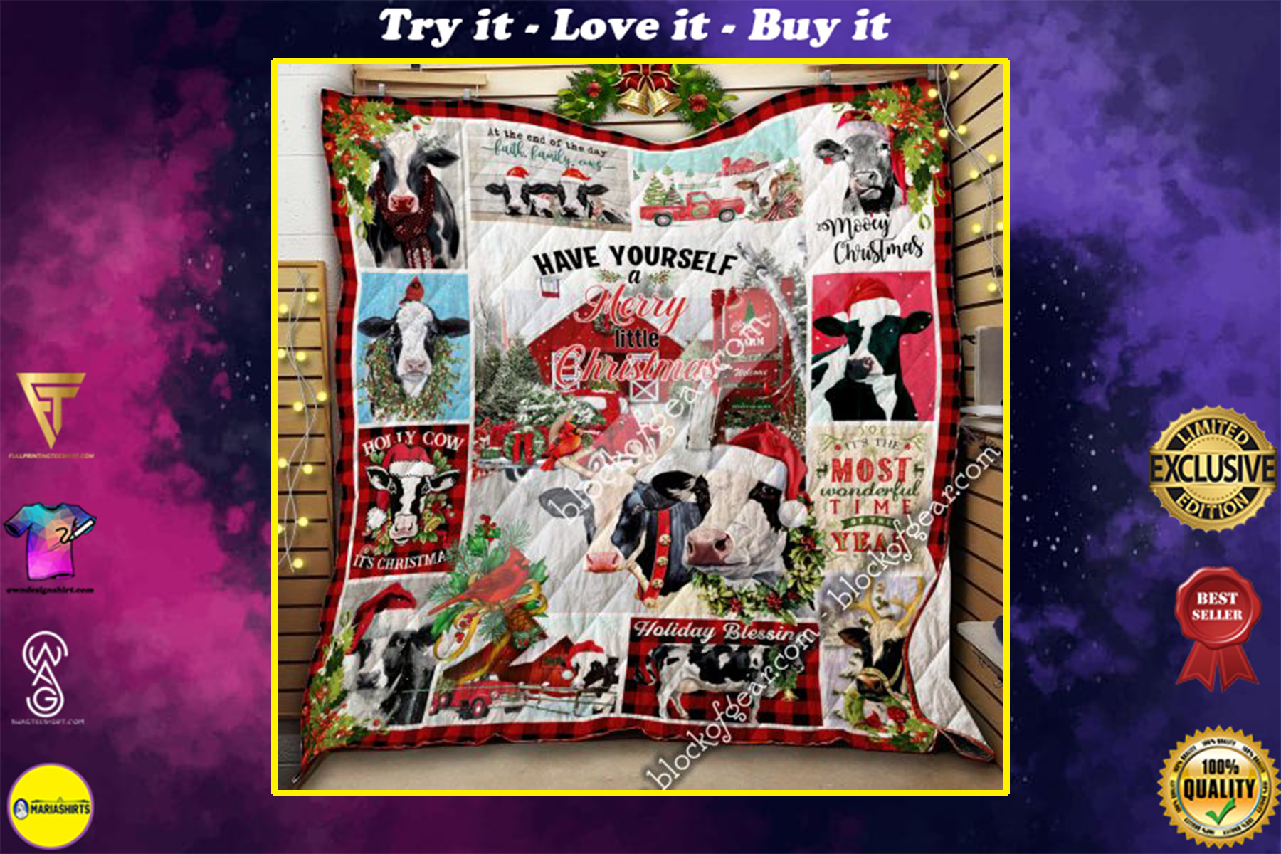 christmas cow have yourself a merry little christmas all over print quilt