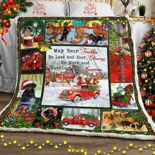 christmas dachshund may your troubles be less and your blessings blanket 2