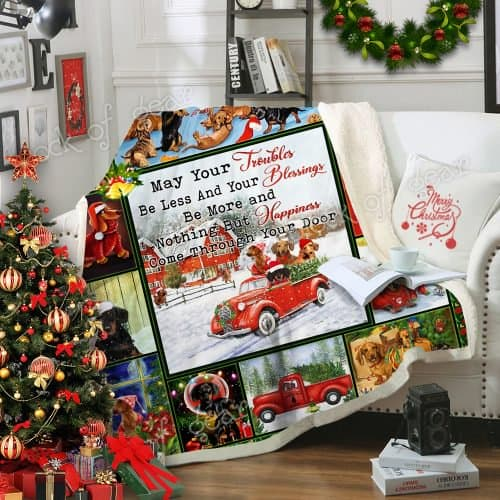 christmas dachshund may your troubles be less and your blessings blanket 3