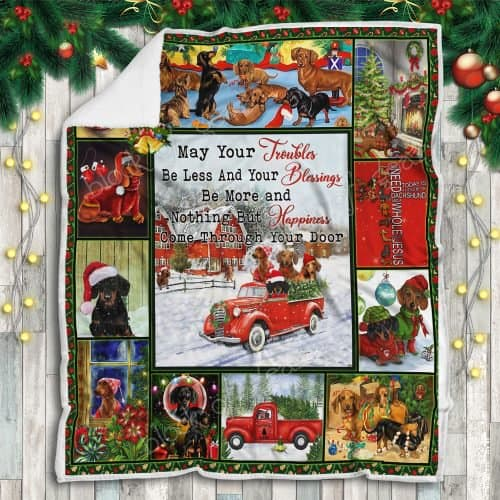 christmas dachshund may your troubles be less and your blessings blanket 5