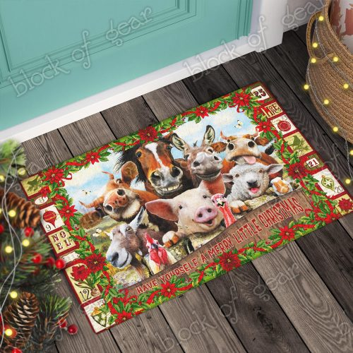 christmas farm animals have yourself a merry little christmas doormat 2
