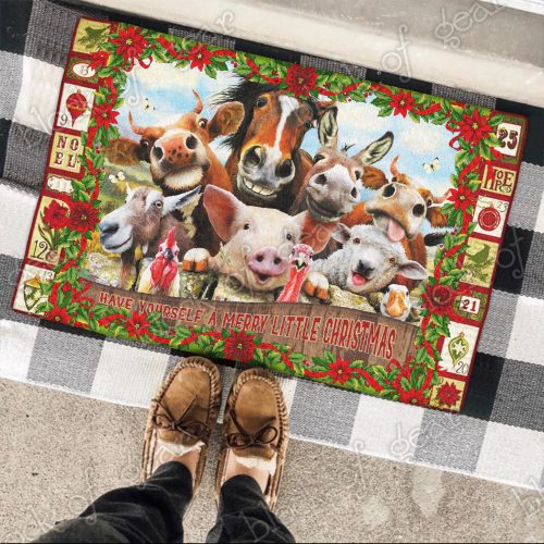christmas farm animals have yourself a merry little christmas doormat 3