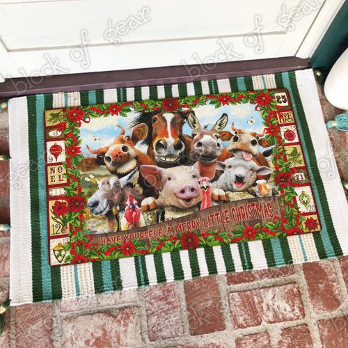 christmas farm animals have yourself a merry little christmas doormat 4