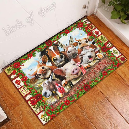 christmas farm animals have yourself a merry little christmas doormat 5