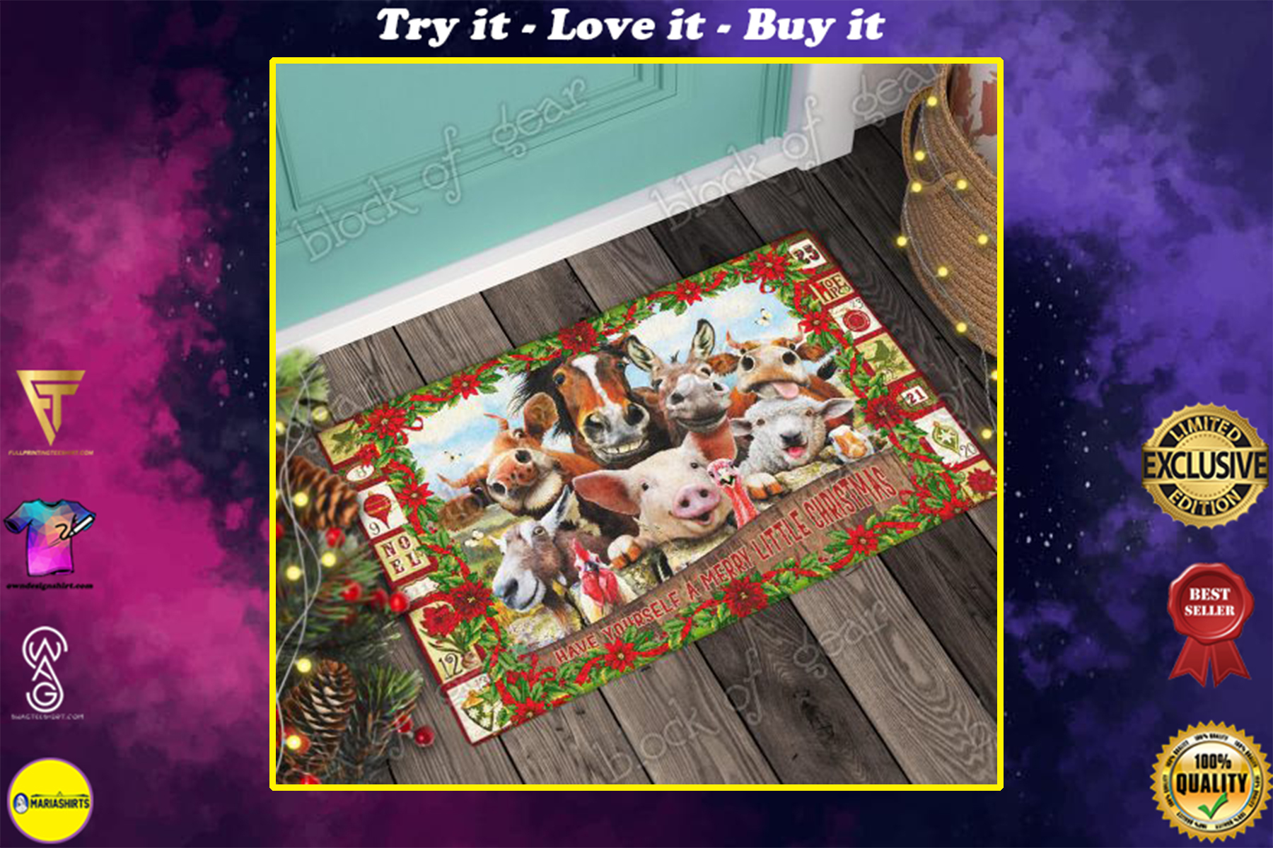 christmas farm animals have yourself a merry little christmas doormat