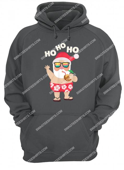christmas in july funny santa summer beach vacation hoodie 1
