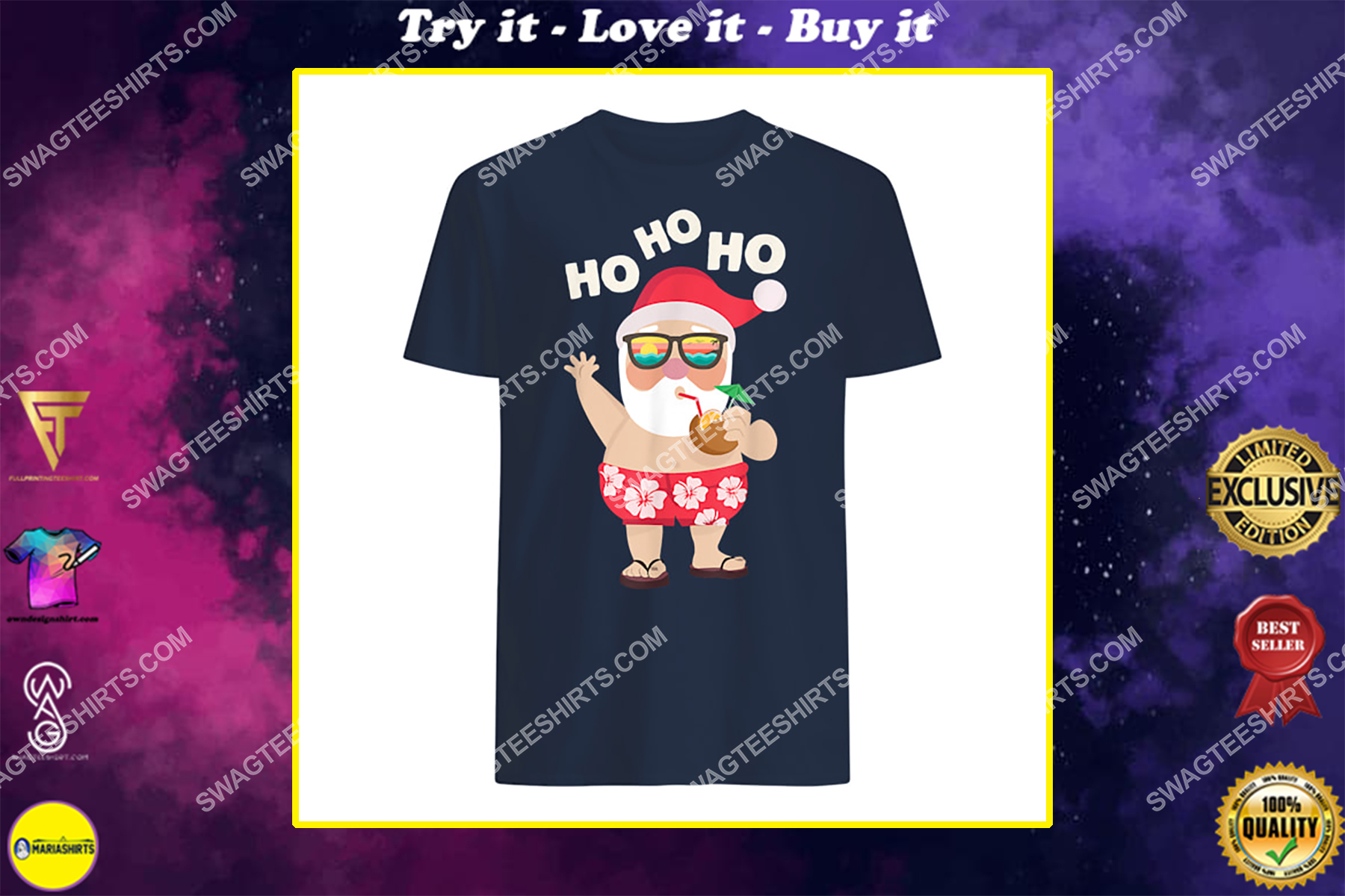 christmas in july funny santa summer beach vacation shirt