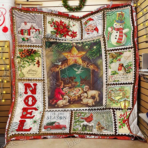 christmas joy to the world and merry christmas all over print quilt 2